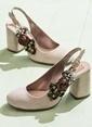 Elle Kalın Topuklu %100 Deri Ayakkabı Bej